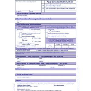Avis de rétention d'un permis de conduire