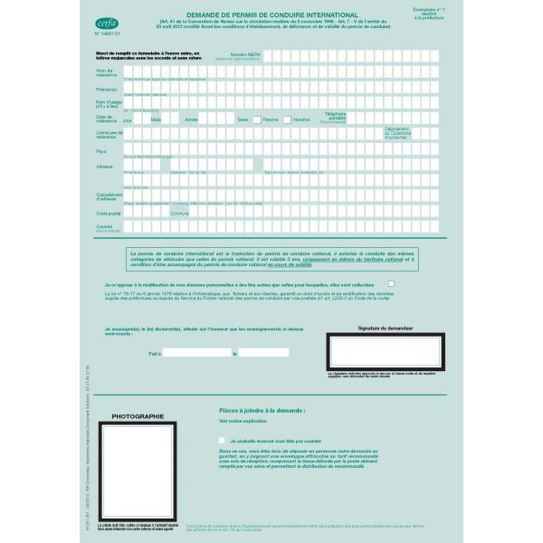 Demande de permis de conduire international legaldoc for Permis modificatif cerfa