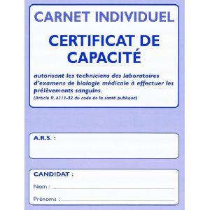 CARNET INDIVIDUEL- CERTIFICAT DE CAPACITE
