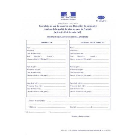 DECLARATION DE NATIONALITE FRANCAISE-QUALITE FRERE SOEUR DE FRANCAIS