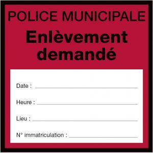 """Autocollant Fourrière """"Demande d'enlèvement"""""""
