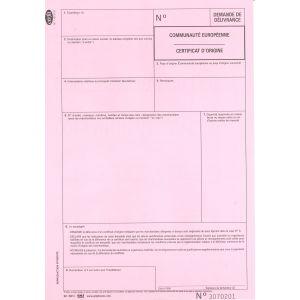 "Certificat d'Origine, Feuillet rose ""Acte de délivrance"""