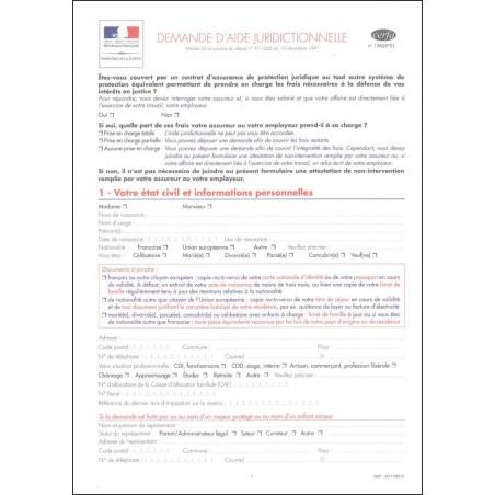 Demande d'aide juridictionnelle-AVEC NOTICE-NOUVEAU CERFA
