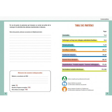 Pages interieures du carnet de santé