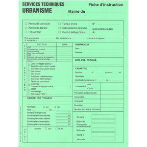 Fiche d'instruction permis de construire, de démolir, lotissement, travaux divers, coupe et abattage d'arbres