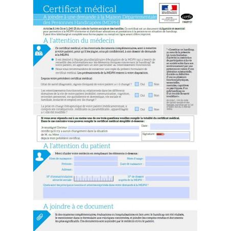Certificat médical accompagné du bilan ophtalmique-MDPH