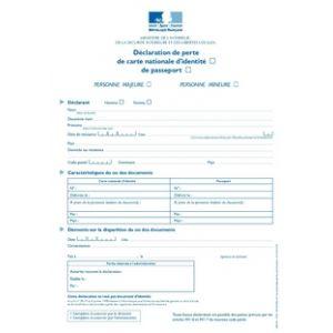 déclaration perte de carte d identité Déclaration de perte de carte nationale d'identité ou de passeport