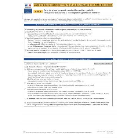 """CST.3 Carte de séjour temporaire portant la mention """"salarié"""", """"travailleur temporaire"""", """"entrepreneur / Profession libérale"""""""