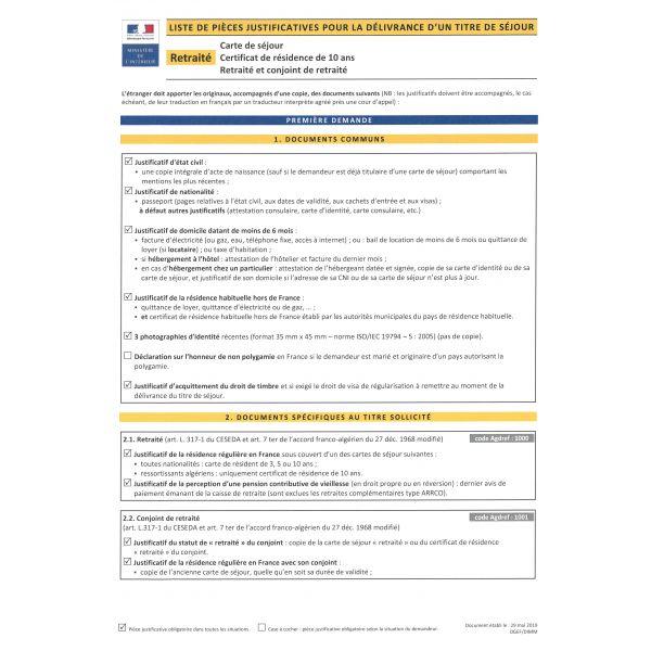 Retraité - Carte de séjour, Certificat de résidence de 10 ans, Retraité et conjoint de retraité ...