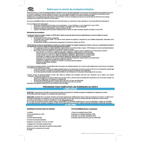 Notice pour le contrat de professionnalisation